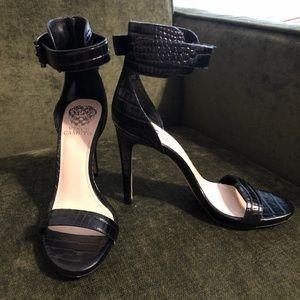 Vince Camuto Crocodile Black Heels 6.5